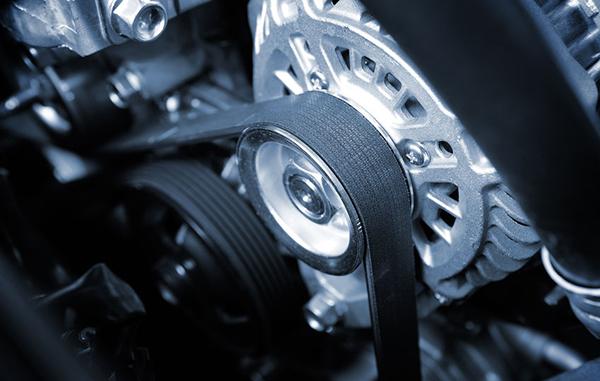 closeup timing belt in vehicle