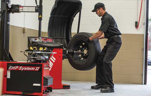 Man preparing a tire rotation
